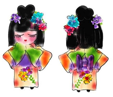 Jazzy Jasmine Dolly from Japan fabric by rosannahope on Spoonflower - custom fabric