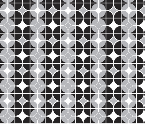 Othello - Midcentury Modern Geometric Black & Grey fabric by heatherdutton on Spoonflower - custom fabric
