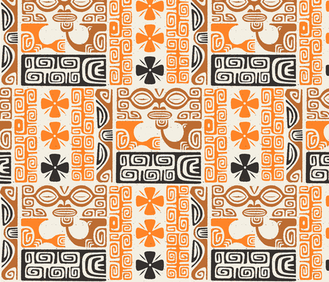 Tikis 2a fabric by muhlenkott on Spoonflower - custom fabric