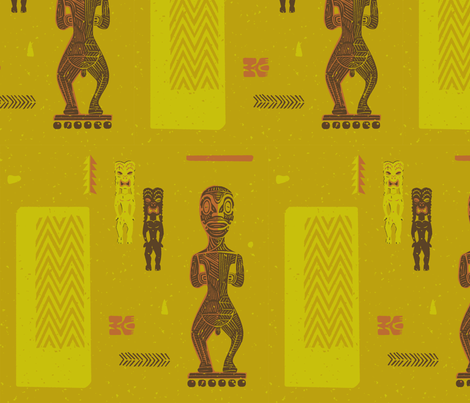 Tikis 3a fabric by muhlenkott on Spoonflower - custom fabric