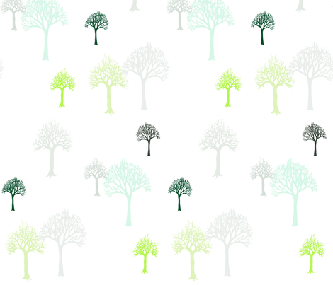 Trees Blu Green fabric by mrshervi on Spoonflower - custom fabric