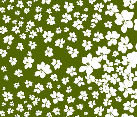 Magnolia Little Gem - Olive Green - 1 yard panel fabric by kristopherk on Spoonflower - custom fabric