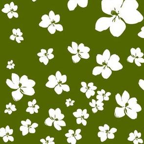 Magnolia Little Gem - Olive Green - 1 yard panel