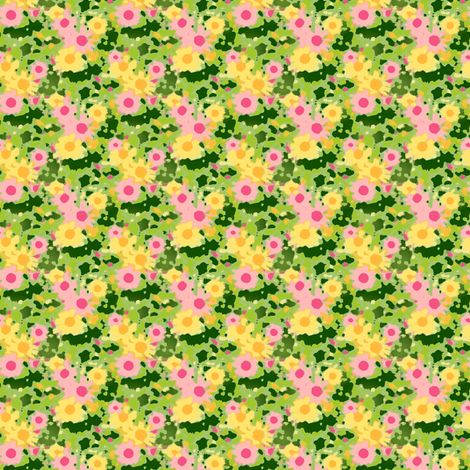 Claude's Daisy Impression - Crocodile Green fabric by inscribed_here on Spoonflower - custom fabric
