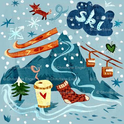 Ski + Coffee + Fox