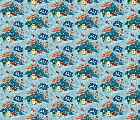 Ski + Coffee + Fox fabric by chesirella on Spoonflower - custom fabric
