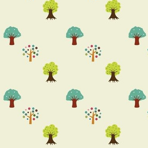 happy forest in cream
