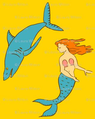 mermaid shark gold