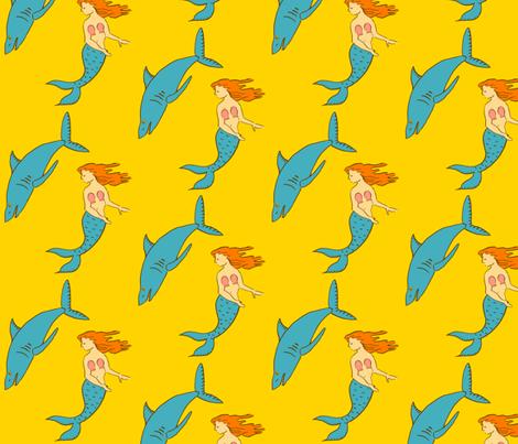 mermaid shark gold fabric by laurawilson on Spoonflower - custom fabric