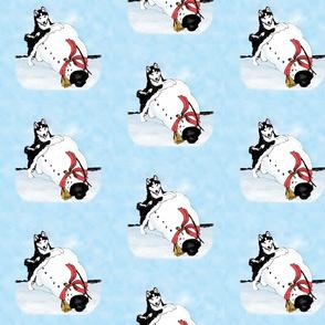 Xmas snowman & siberian husky