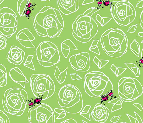 roses and visitors fabric by stefanie_vh on Spoonflower - custom fabric