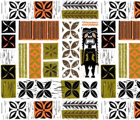 Hawaiian Tikis 2b fabric by muhlenkott on Spoonflower - custom fabric