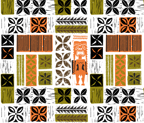Hawaiian Tikis 2a fabric by muhlenkott on Spoonflower - custom fabric