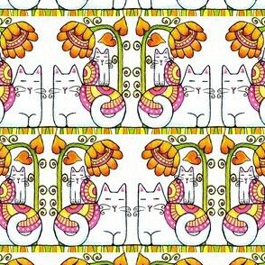 Flower Power 01...Momcat & Kitten stripe