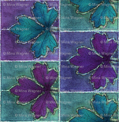 Dyepaint_leaf_BORDER_fabric_red-violet_teal_minagreen
