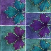 Dyepaint_leaf_BORDER_fabric_red-violet_teal_minagreen