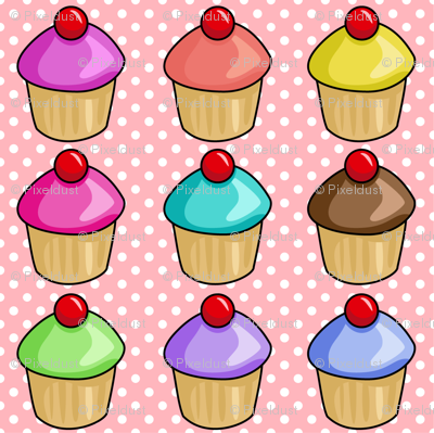 Cupcakes on pink