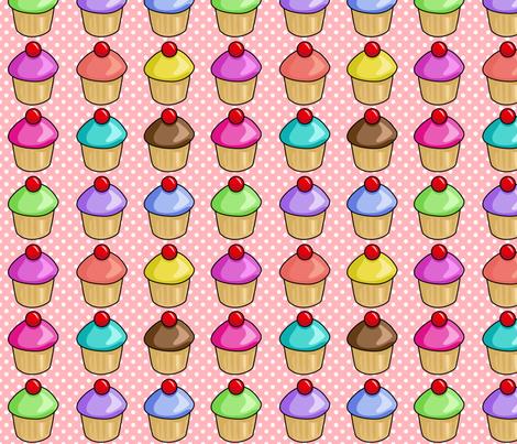 Cupcakes on pink fabric by pixeldust on Spoonflower - custom fabric