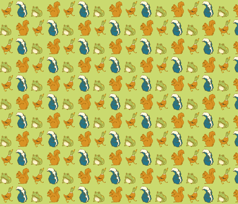 Duck Skunk Frog Squirrel fabric by laurawilson on Spoonflower - custom fabric