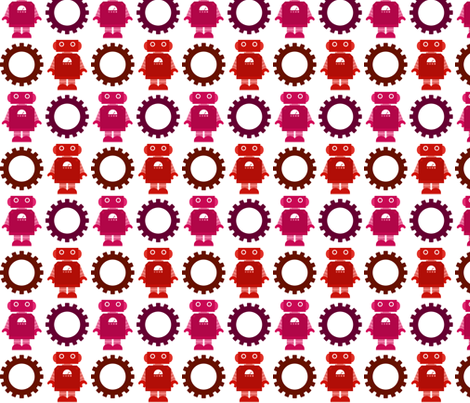 Robot and Gear - Girl fabric by jesseesuem on Spoonflower - custom fabric