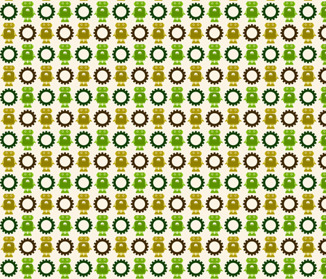 Robot and Gear - Neutral fabric by jesseesuem on Spoonflower - custom fabric