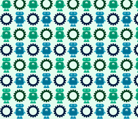 Robot and Gear - Blue fabric by jesseesuem on Spoonflower - custom fabric