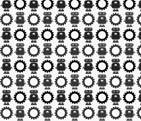 Robot and Gear - Black & White fabric by jesseesuem on Spoonflower - custom fabric