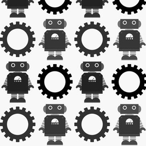 Robot and Gear - Black & White
