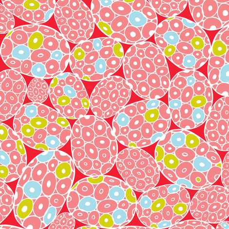 Sea Foam - Abstract Geometric Pink & Red fabric by heatherdutton on Spoonflower - custom fabric