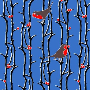 Robins in branches - Blue
