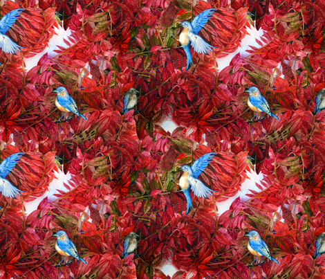 Bluebirds Love Sumac fabric by helenklebesadel on Spoonflower - custom fabric