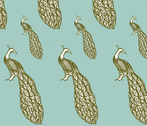 peacock_repeat_blue-ch fabric by sequingirlie on Spoonflower - custom fabric