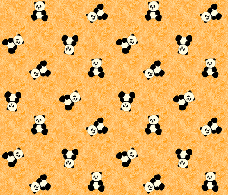 Panda Tumbles - Mandarine fabric by inscribed_here on Spoonflower - custom fabric