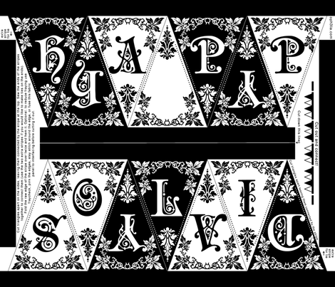 Gothic Happy Holidays Pennant Craft Panel (black/white) fabric by ophelia on Spoonflower - custom fabric