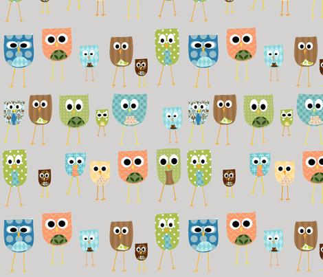 multi_owls fabric by petunias on Spoonflower - custom fabric