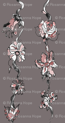 Enchanted garden  ribbon pink and taupe