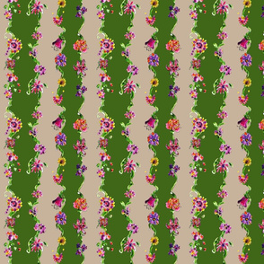 Enchanted garden ribbon Green stripe