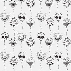 Spooky Balloons Black on White