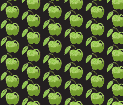 Apple Black fabric by chirp! on Spoonflower - custom fabric