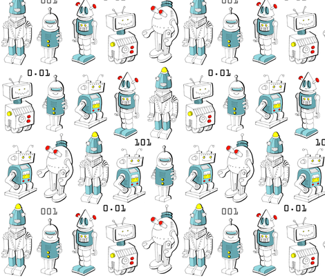 Happy Robots fabric by hamburgerliebe on Spoonflower - custom fabric