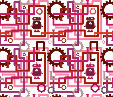 Robots and Pipes - Pinks fabric by jesseesuem on Spoonflower - custom fabric