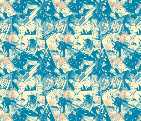 Newspaper Blue Eva fabric by tinet on Spoonflower - custom fabric