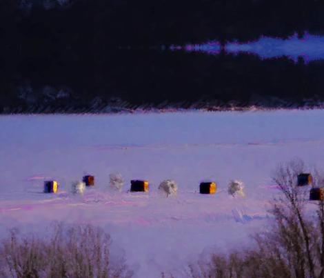 Lake Champlain fishing shanties fabric by pinkchamplain on Spoonflower - custom fabric