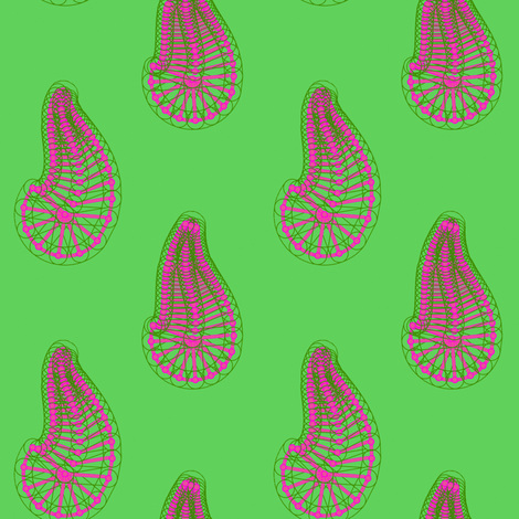 Paisley_Bones_Green fabric by patsijean on Spoonflower - custom fabric