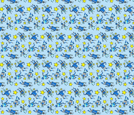 robots in space on blue fabric by zomo on Spoonflower - custom fabric