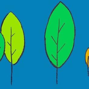 Leaves green orange on blue