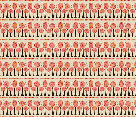 Pink Fire, Polka Trees Border fabric by natalie on Spoonflower - custom fabric