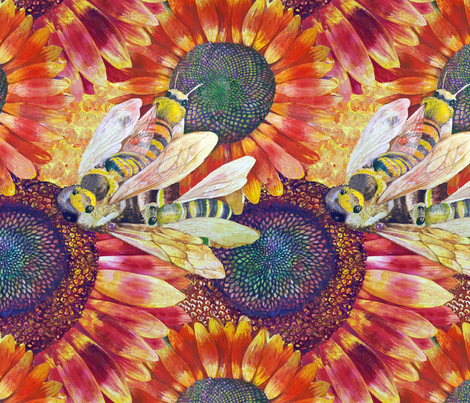 Bees Love Sun Flowers fabric by helen@klebesadel_com on Spoonflower - custom fabric