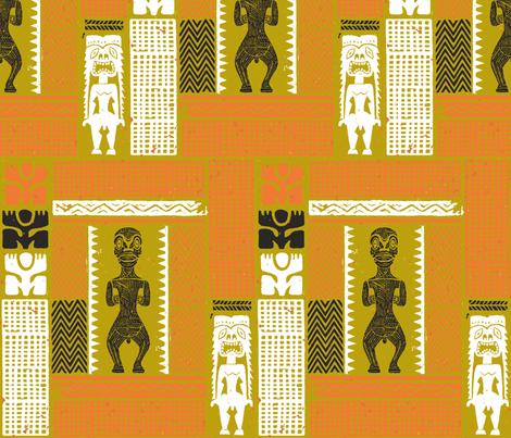 Marquesan Tiki 2b fabric by muhlenkott on Spoonflower - custom fabric