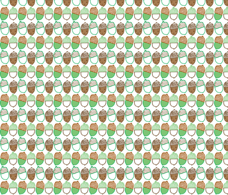 Acorns in brown and green fabric by anda on Spoonflower - custom fabric
